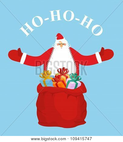 Santa Claus And Gift Bag. Ho-ho-ho. Jolly Santa Wishes You  Happy Christmas. New Year Postcard, Post