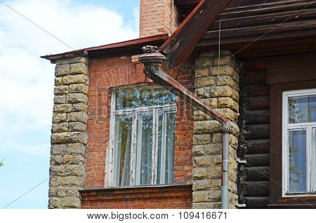 The Stone Part Of Log House. Architecture Of Old Irkutsk