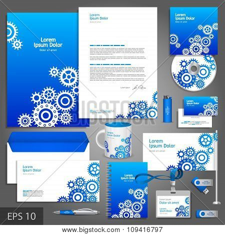 Blue Corporate Identity Template With Cogwheels