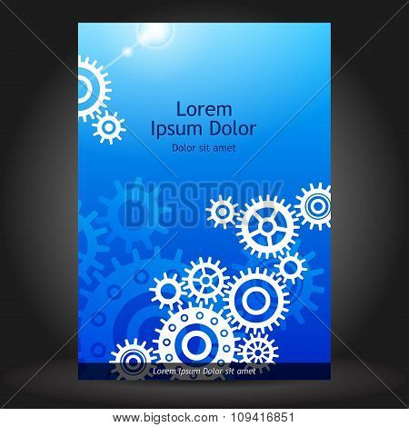 Blue Brochure Cover Design With Cogwheels