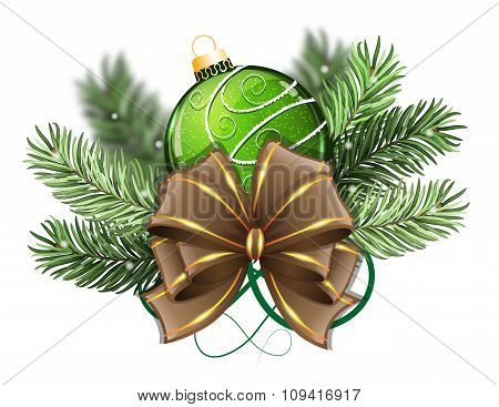 Green Christmas Ball With Bow