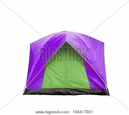 Isolated Magenta And Green Dome Tent