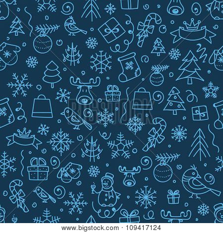Christmas season vector seamless pattern. Xmas hand-drawn elements