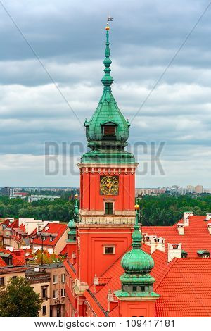 Aerial view of Royal Castle in Warsaw, Poland.