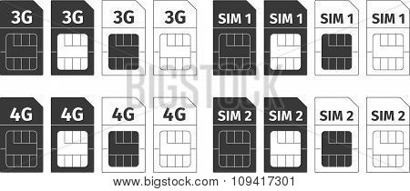 Simcard icons set
