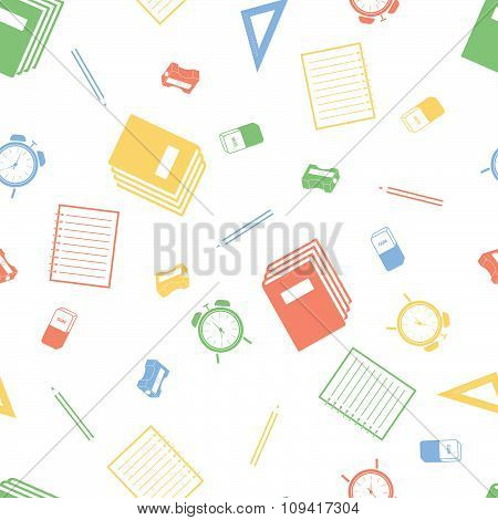 Seamless pattern with school equipment