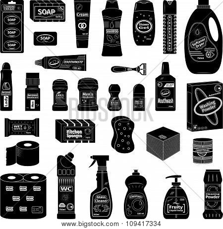 Cleanser and washing icons set