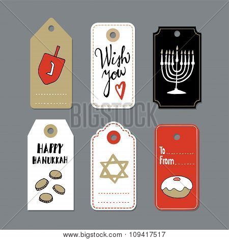 Set Of Hand Drawn Hanukkah Gift Tags, Invitations, Isolated Vectors
