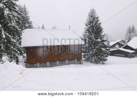 Little chapel in first snow