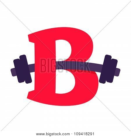 B Letter With Barbell.