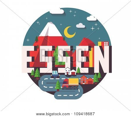 Essen in germany is Beautiful city to visit on holiday, vector cartoon illustration
