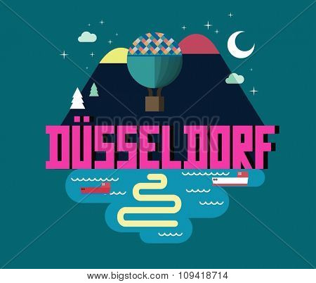 D���¼sseldorf in germany is Beautiful city to visit on holiday, vector cartoon illustration