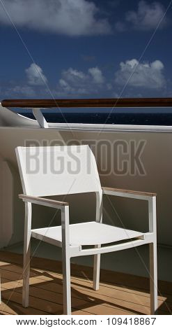 White chair on balcony