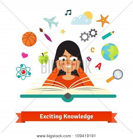 Young brunette girl reading a book exited