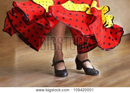 Fragment photo of flamenco dancer, only legs cropped, Legs fragment photo of flamenco dancer, spanis