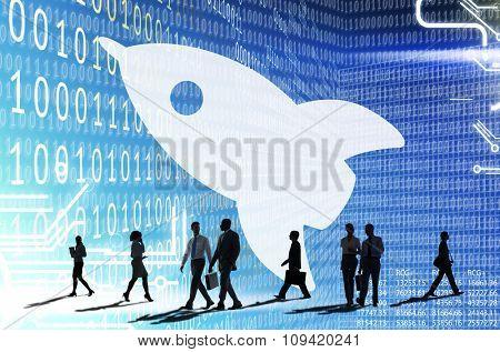 Business Binary Code Data Rocket Concept