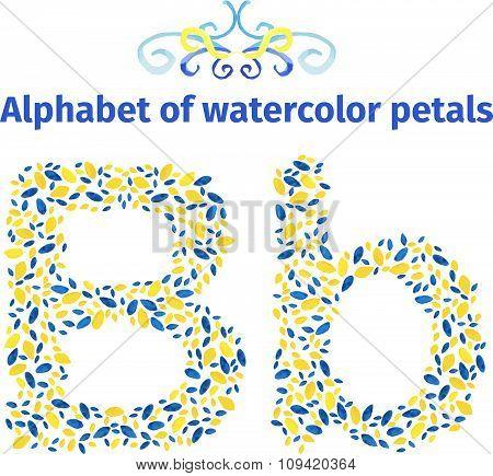 Alphabet of watercolor petals.