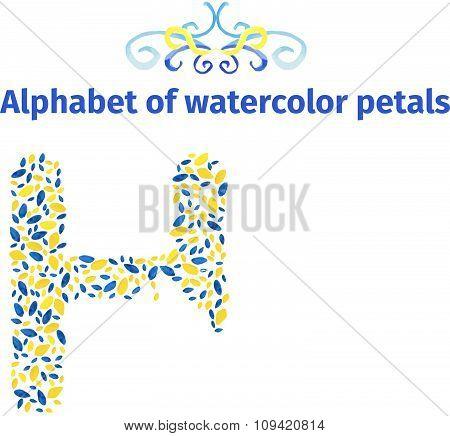 Alphabet of watercolor petals