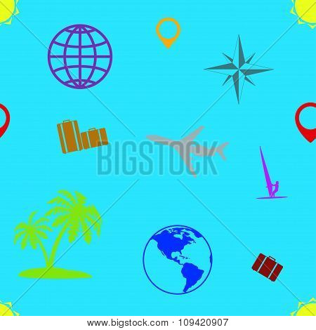 Seamless pattern of tourism and recreation.