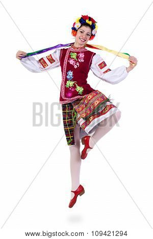 beautiful jumping girl in ukrainian polish national traditional costume clothes happy smile, full le