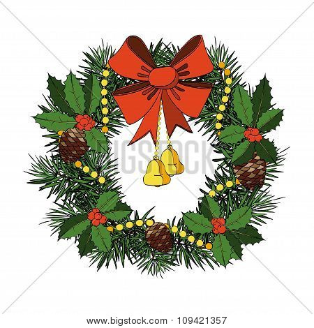 Christmas Wreath With Red Bow, Bells, Holly, Cones