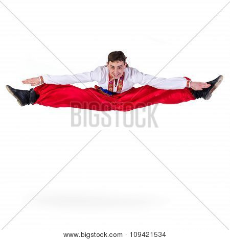 Russian cossack dance. Young dancer jumping