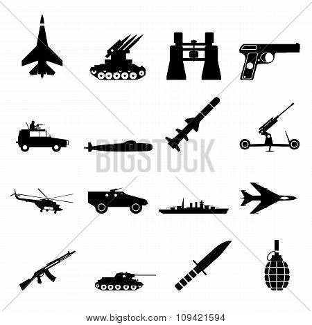 16 weapon simple icons set