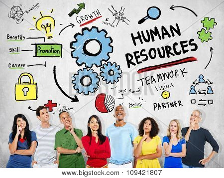 Human Resources Employment Job Teamwork People Thinking Concept