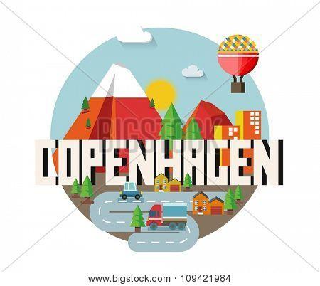 Copenhagen in Denmark is Beautiful city to visit on holiday, vector cartoon illustration