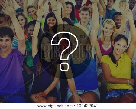 Group People Crowd Cooperation Question Mark Concept