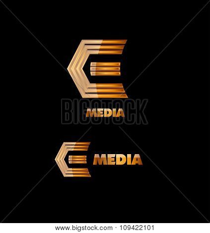 Letter E Gold Logo Icon