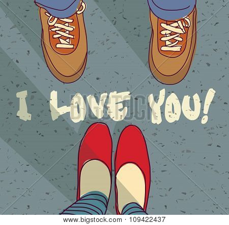 I love you sign young couple card
