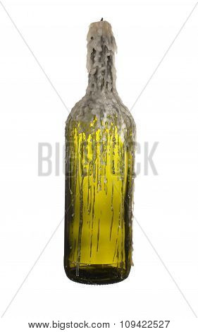 Green Glass Bottle Of Wine With A Candle Isolated On White Background.