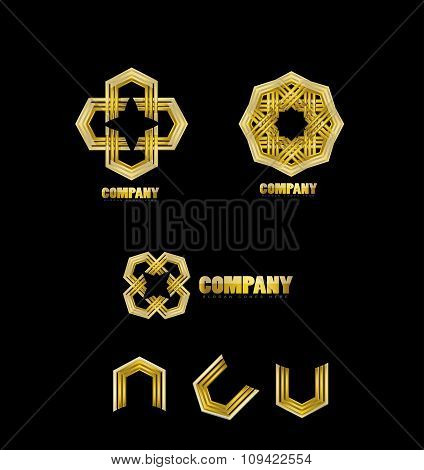 Abstract Company Gold Logo Icon