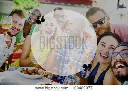 Quotation Mark Happiness Luncheon Party Smiling Concept
