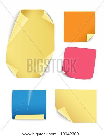 Blank different color paper stickers collection. Template for a content