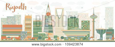Abstract Riyadh skyline with Color buildings. Vector illustration. Business and tourism concept with skyscrapers. Image for presentation, banner, placard or web site
