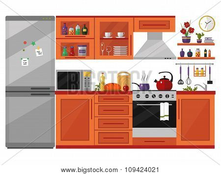 Kitchen interior with utensils, food and devices.