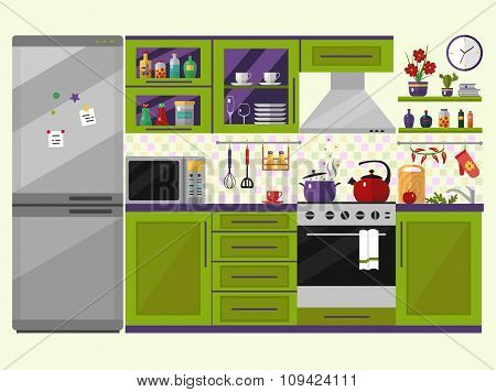 Green kitchen interior with utensils, food and devices.