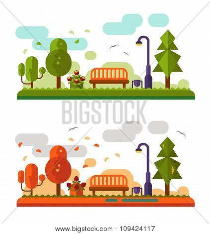 Summer and Autumn landscapes