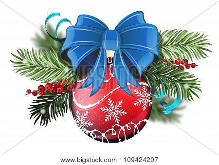 Red Christmas Ball With Blue Bow