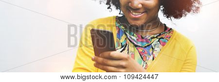 African Woman Using Mobile Phone Social Media Concept