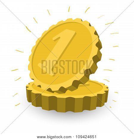 Two golden coins cartoon illustration