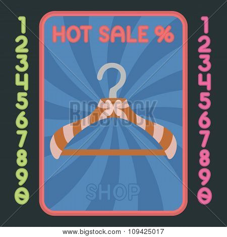 Hanger Flat Design Icon. Vector Hot Sale Label.