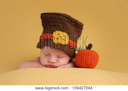 Newborn Baby Boy Wearing A Pilgrim Hat