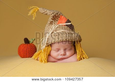 Newborn Baby Boy Wearing A Scarecrow Hat