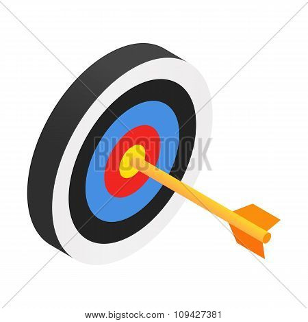 Arrow in target isometric 3d icon