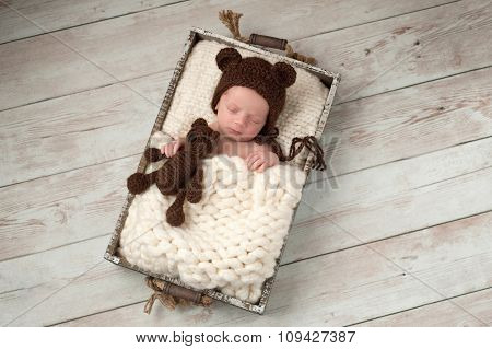 Newborn Baby Boy With Bear Hat And Plush Bear Toy