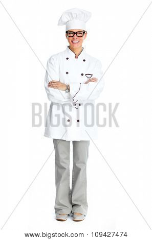 Beautiful Chef woman isolated over white background.