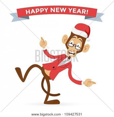 Funny monkey Christmas Santa hat dancing. New Year monkey isolated. Cartoon monkey dancing Christmas greeting card illustration. Christmas New Year business greeting card